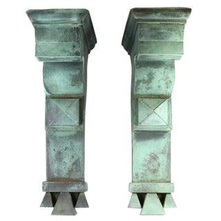 Antique Green Copper Architectural Brackets - a Pair