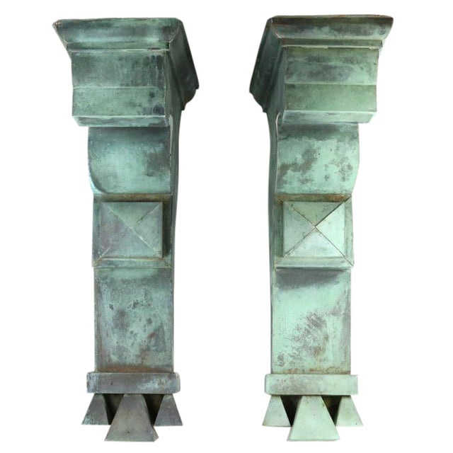 Antique Green Copper Architectural Brackets - a Pair For Sale