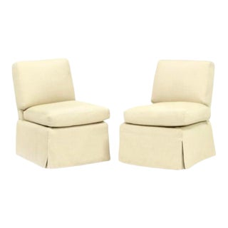 Brunschwig Fils Upholstered Slipper Chairs - a Pair For Sale