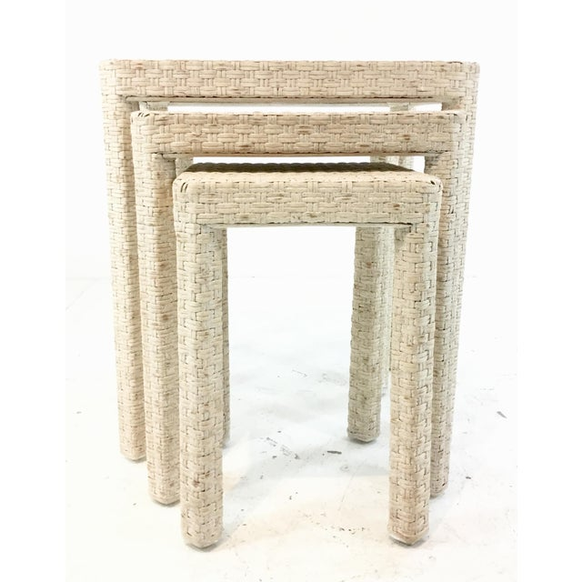 Stylish Made Goods transitional white washed rattan. Delphine nesting tables, showroom floor samples, original retail...