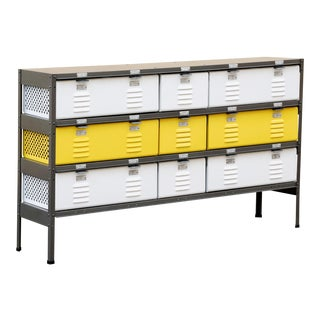 Custom Made 3 X 3 Locker Basket Unit With Specialty Double-Wide Baskets, Natural Steel, Mellow Yellow and Gloss White For Sale