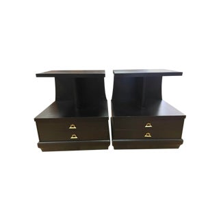 French Art Deco Ebonised Black End Tables Nightstands - a Pair For Sale