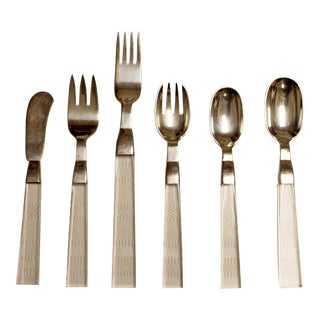 1970s Mid Century Modern Porter Blanchard Lucite & Silver Flatware - 35 Pieces For Sale