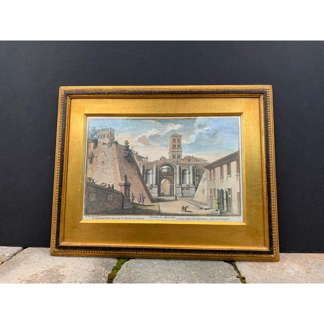 Early 20th Century Early 20th Century Antique Porta S. Spirito Framed Hand-Colored Engraving For Sale - Image 5 of 10