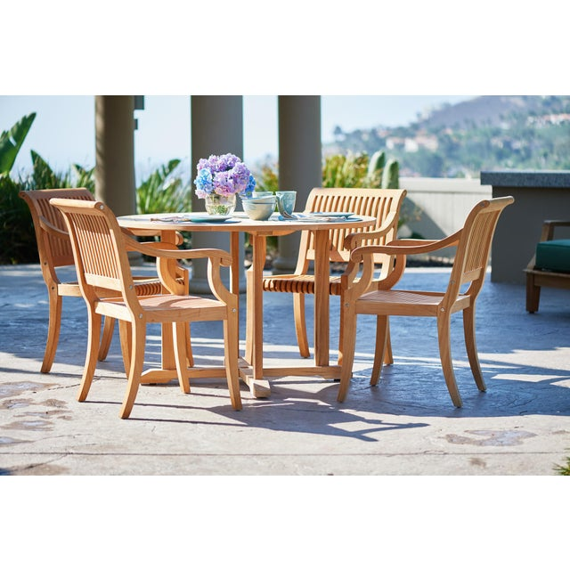Almond Palm Teak Outdoor Armchair For Sale - Image 8 of 10