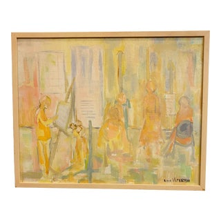 Mid 20th Century Modernist Figurative Pastel Painting on Canvas, Framed For Sale