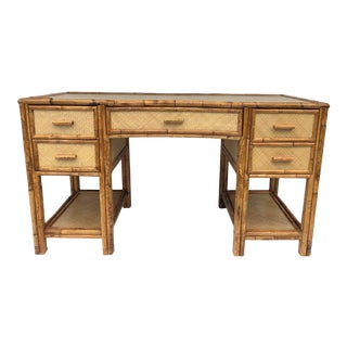 Vintage Rattan Desk Desk Coastal Design For Sale
