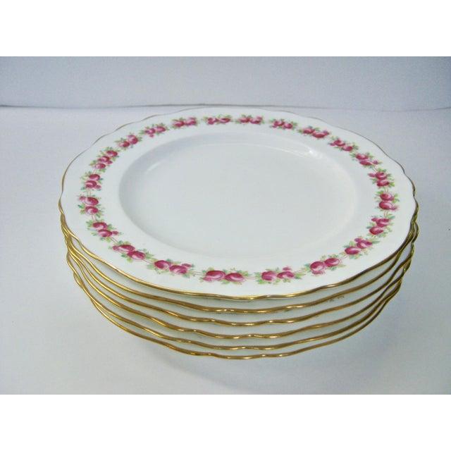 Exquisite Cauldon England set of 6 rose borders with gold scalloped edge plates. Signed: Cauldon England, Made especially...