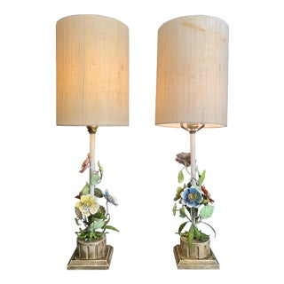 1940s Italian Regency Tole Floral Table Lamps With Shades For Sale