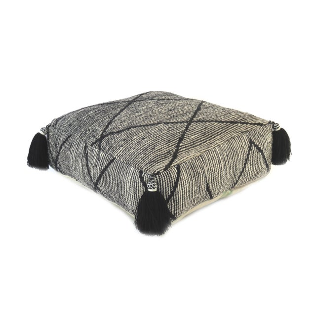 Black Beni Ourain Moroccan Wool Pouf For Sale - Image 9 of 9