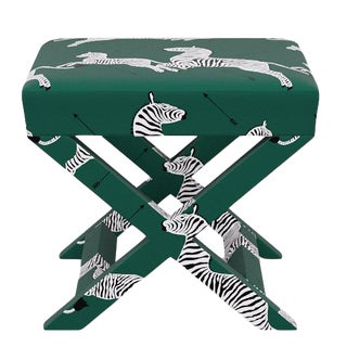 Scalamandre X Bench in Emerald Zebra For Sale