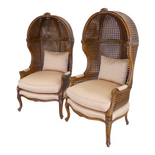 Vintage French Louis XV Double-Caned Canopy Porters Hooded Arm Chairs- a Pair For Sale
