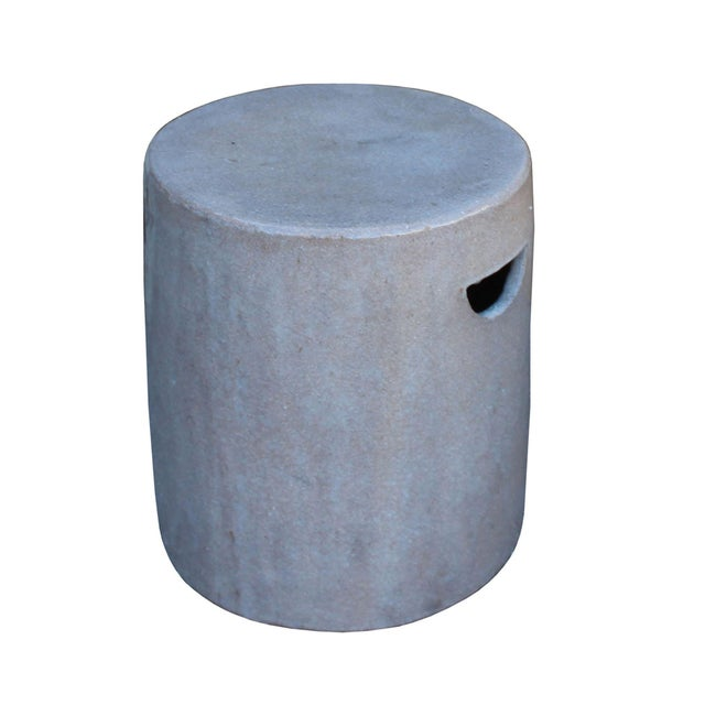 Asian Chinese Ceramic Clay Mauve Beige Glaze Round Flat Column Garden Stool For Sale - Image 3 of 5