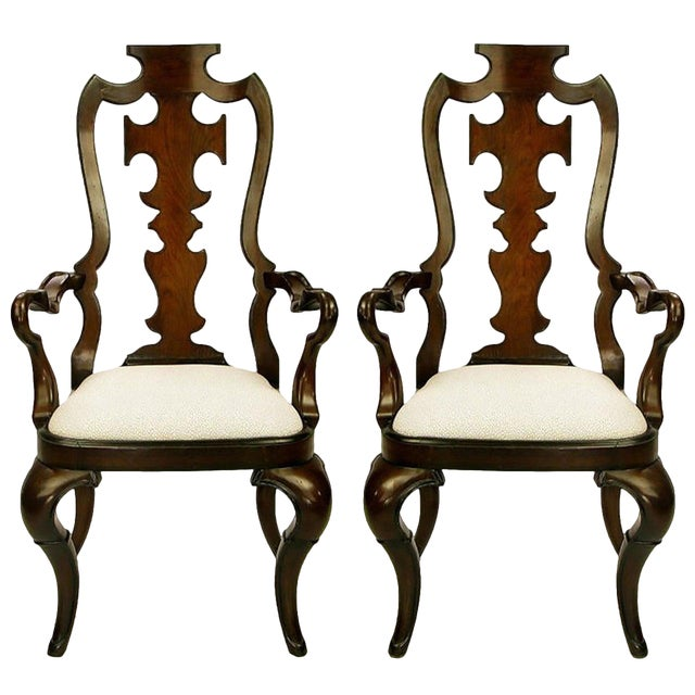 Pair of High Back Carved Walnut Gothic Style Armchairs For Sale