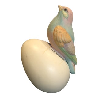 1970s Vintage Colorful Bird on Egg Sculpture For Sale