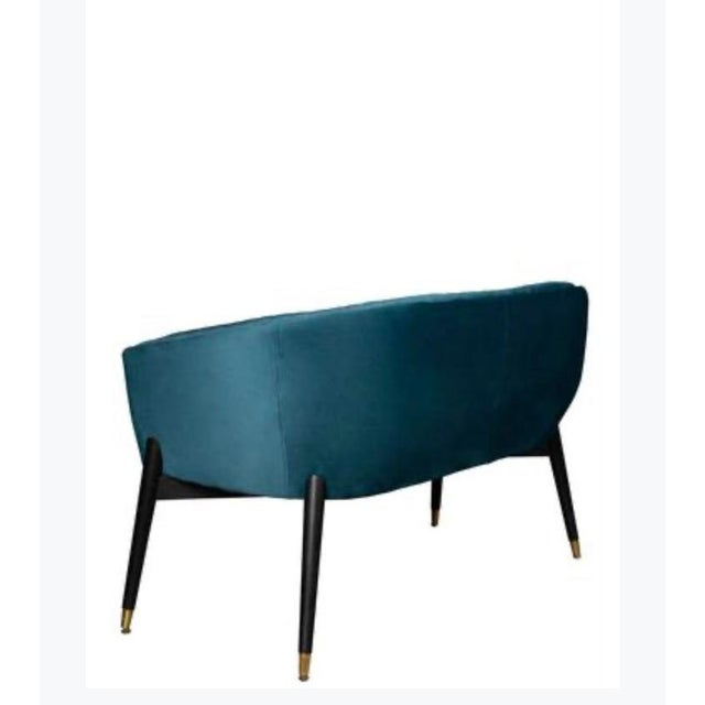 Art Deco Lucy Studded Settee in Teal For Sale - Image 3 of 7
