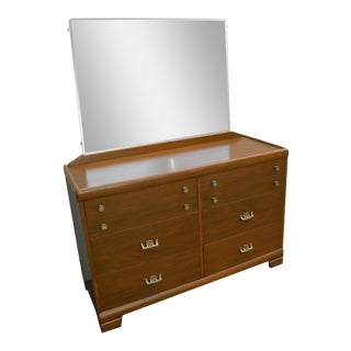 Hollywood Regency Oriental Painted Dresser With Mirror by Harmony House For Sale