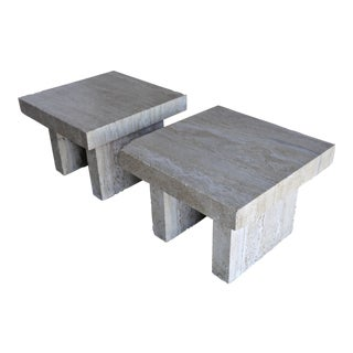 1970s Mid-Century Modern Solid Travertine Side Tables - a Pair For Sale
