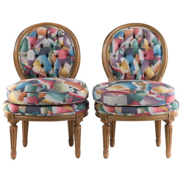 Mid 20th Century Pair of Louis XVI Style Vintage Slipper Chairs For Sale - Image 5 of 5
