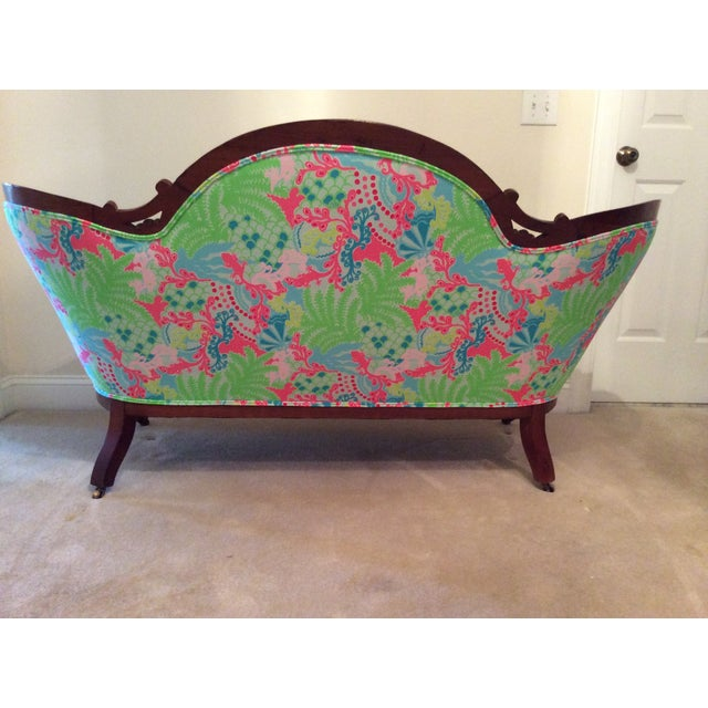Lilly Pulitzer Refurbished Antique Settee/Sofa - Image 5 of 7