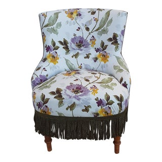 Antique Floral Napoleon III Crapaud / Chauffeuse Chair For Sale
