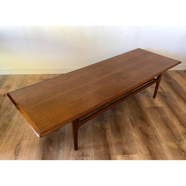 1960s Danish MCM Long Coffee Table With Woven Wicker Shelf by Trioh Mobler For Sale - Image 5 of 9