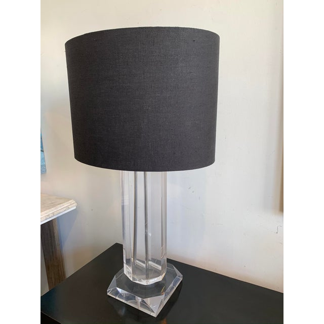 Mid-Century Modern Mid-Century Lucite Polygonal Lamp with Black Shade For Sale - Image 3 of 13