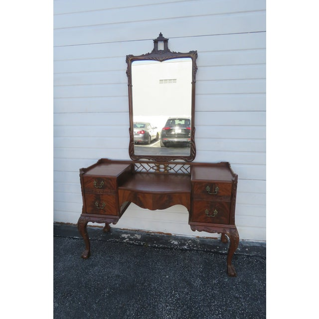 1940s Chippendale Ball and Claw Feet Flame Mahogany Vanity Table and Mirror For Sale - Image 5 of 13