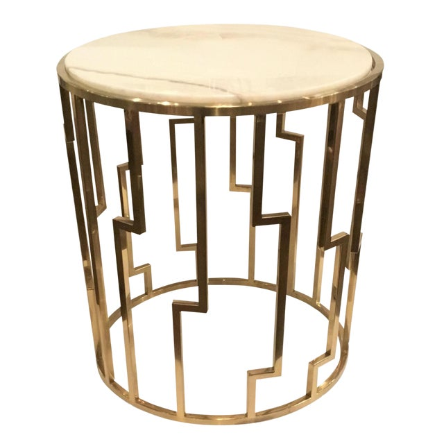 Marble Top Brass Coffee Table.Modern Geometric Marble Top Brass Base Side Table