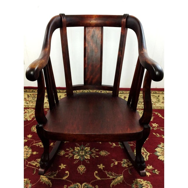Antique Empire Barrel Back Claw Foot Mahogany Rocking Chair - Image 2 of 8