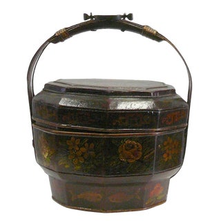 Traditional Chinese Antique Bamboo Octagon Flower Painting Wedding Basket For Sale