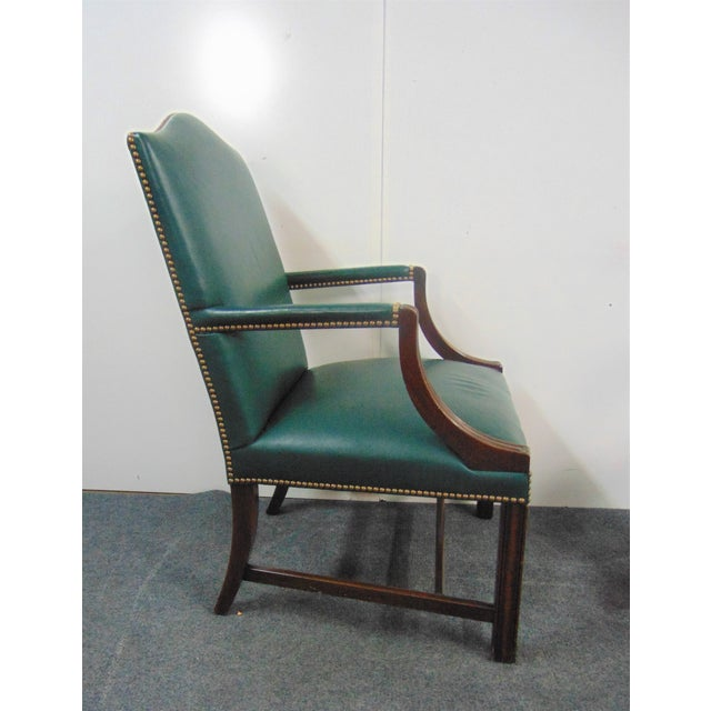 Wood Hickory Chair Co Mahogany Leather Library Chairs - a Pair For Sale - Image 7 of 9