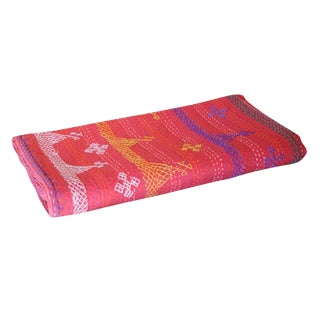 Ruby Tribal Embroidered Coverlet For Sale