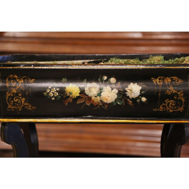 19th Century French Napoleon III Painted Plant Stand With Floral Motifs For Sale - Image 4 of 11