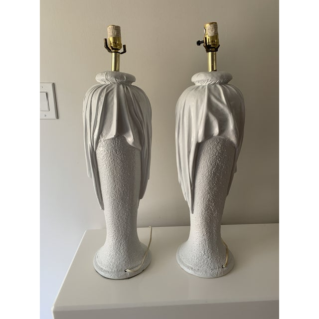 1980s 1980s Plaster Draped Table Lamps in the Manner of John Dickenson - a Pair For Sale - Image 5 of 13