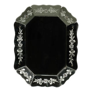 Art Deco Eight Sided Venetian Wall Mirror with Etched Flowers