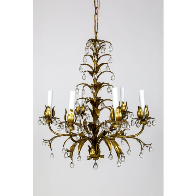 Palm Beach Style Gilt Leaves and Grape Crystal Chandelier For Sale - Image 13 of 13