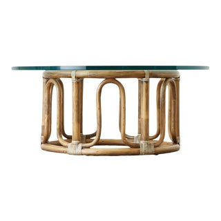 McGuire Organic Modern Bamboo Rattan Round Cocktail Table For Sale