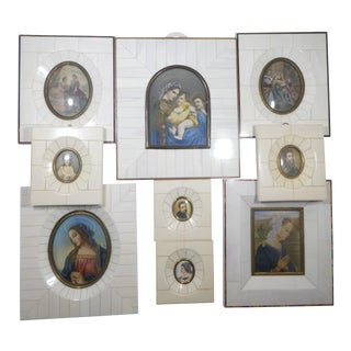 Vintage Miniature Hand Painted Portrait Paintings - Collection of 9 For Sale