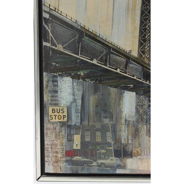 "Canvas Mid-Century M. Kaplan ""Brooklyn Bridge"" Oil on Canvas Painting For Sale - Image 7 of 11"