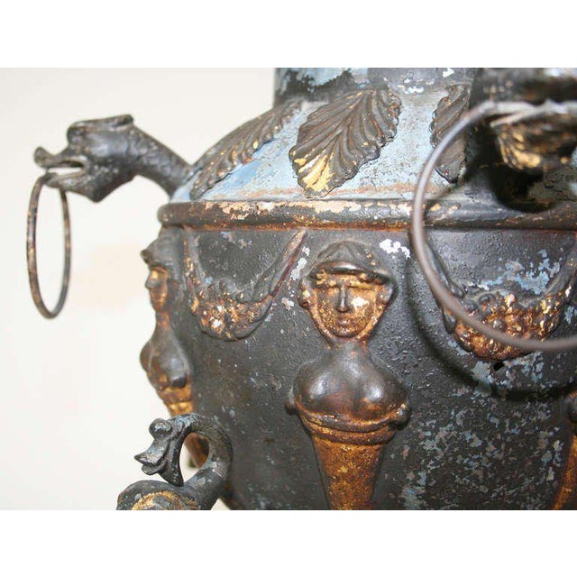 Mid 19th Century Antique Tole Samovar Mounted As A Lamp For Sale - Image 5 of 8