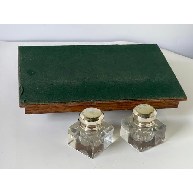 Antique English Double Inkwell Desk Set For Sale - Image 10 of 12