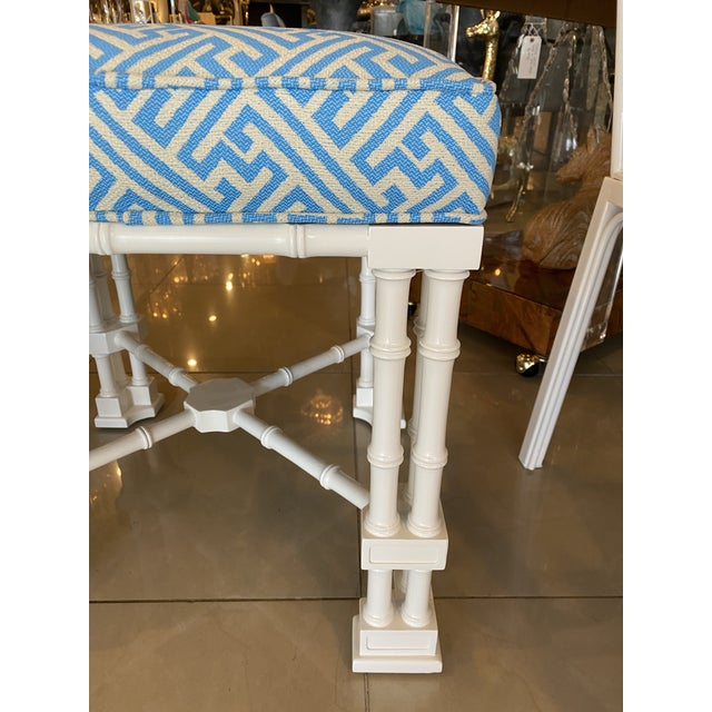 Vintage Palm Beach Faux Bamboo Blue & White Lacquered Greek Key Upholstered Benches Stools -A Pair For Sale - Image 9 of 13