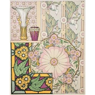 1880s Art Nouveau French Decorative Floral Design Chromolithograph-Rare For Sale