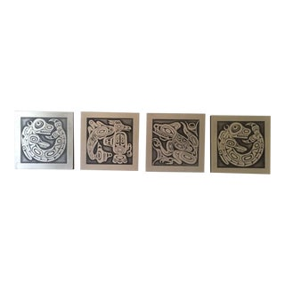 Set of Four Vintage Decorative Handcrafted Orchard Studio British Columbia Wall Tiles For Sale
