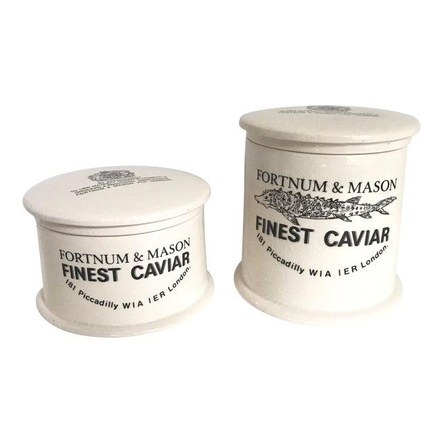Vintage Fortnum & Mason Lidded Jars - A Pair For Sale