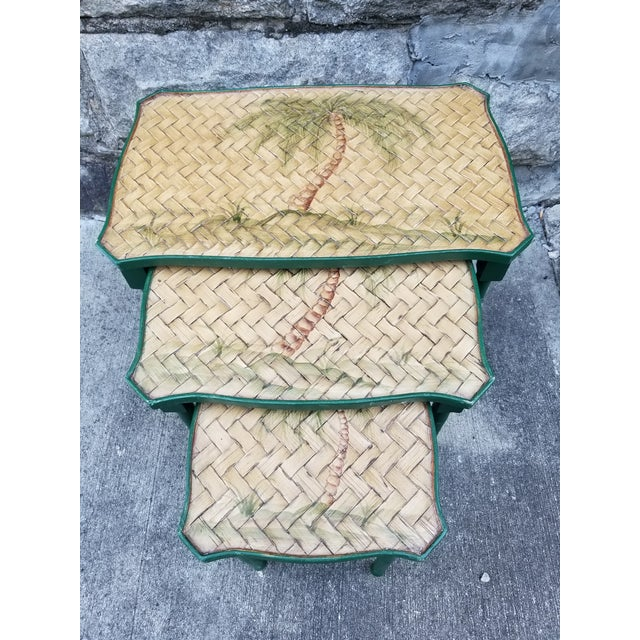 Vintage Cane Wicker & Painted Wood Palm Tree Motif Nesting Table - Set of 3 For Sale - Image 4 of 9