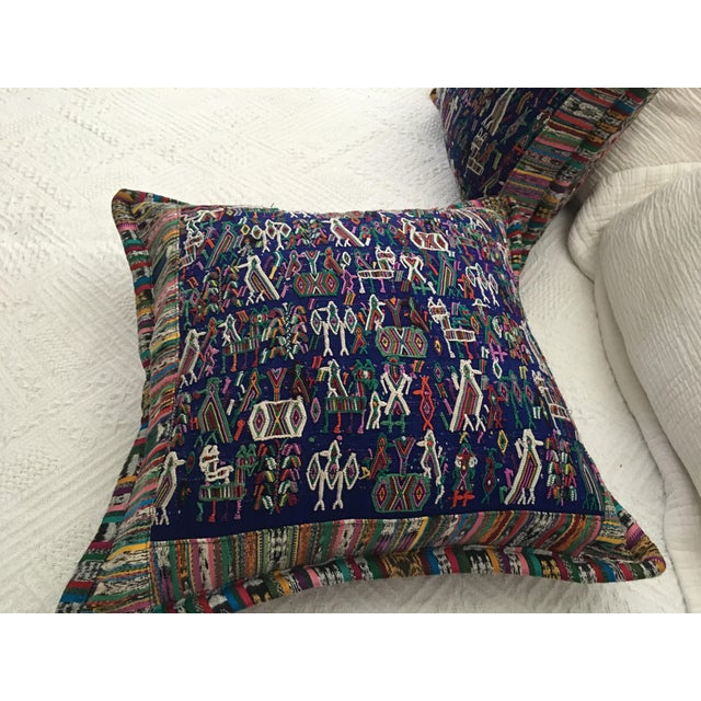 Original Guatemalan Teextile Cushion Cases in Navy Blue a Pair For Sale - Image 4 of 5