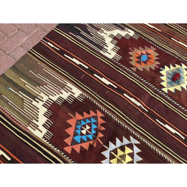 Red Vintagr Turkish Kilim Rug For Sale - Image 8 of 11
