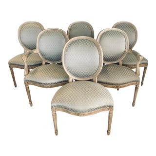 Late 20th Century French Louis XVI Oval Back Dining Chairs- Set of 6 For Sale